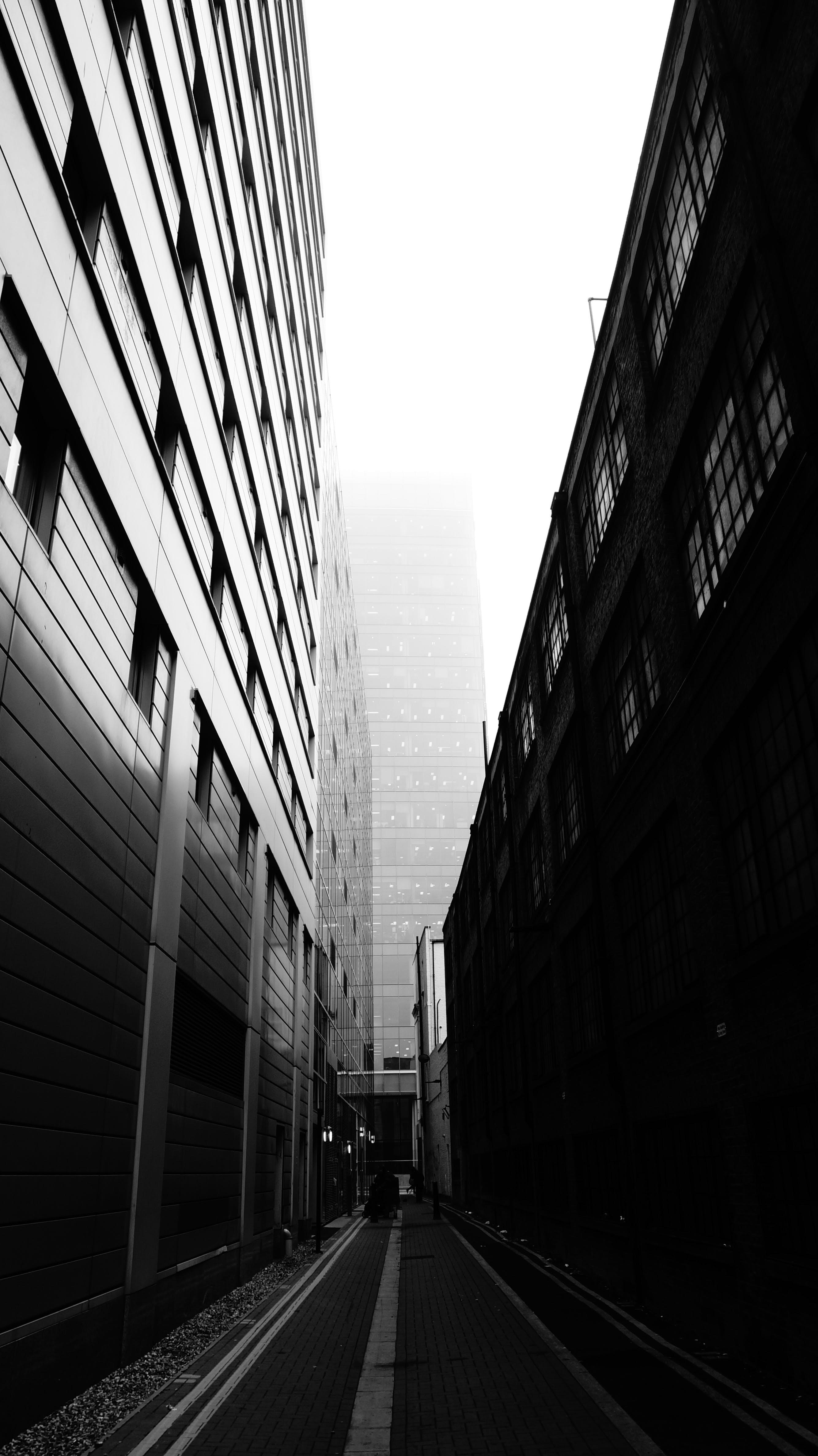 Concrete Buildings Grayscale Photography