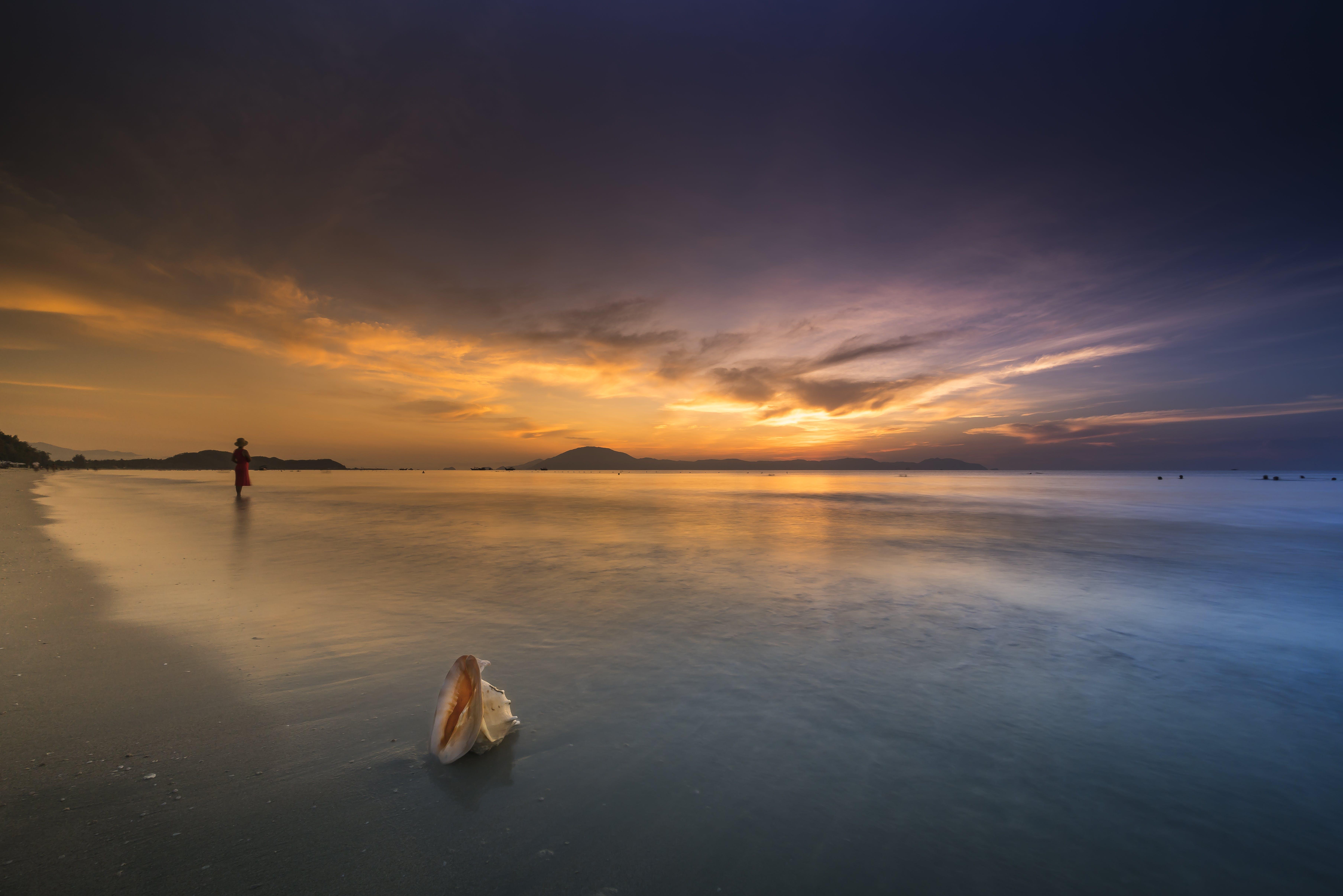 Бесплатное стоковое фото с waingani, берег, восход, закат