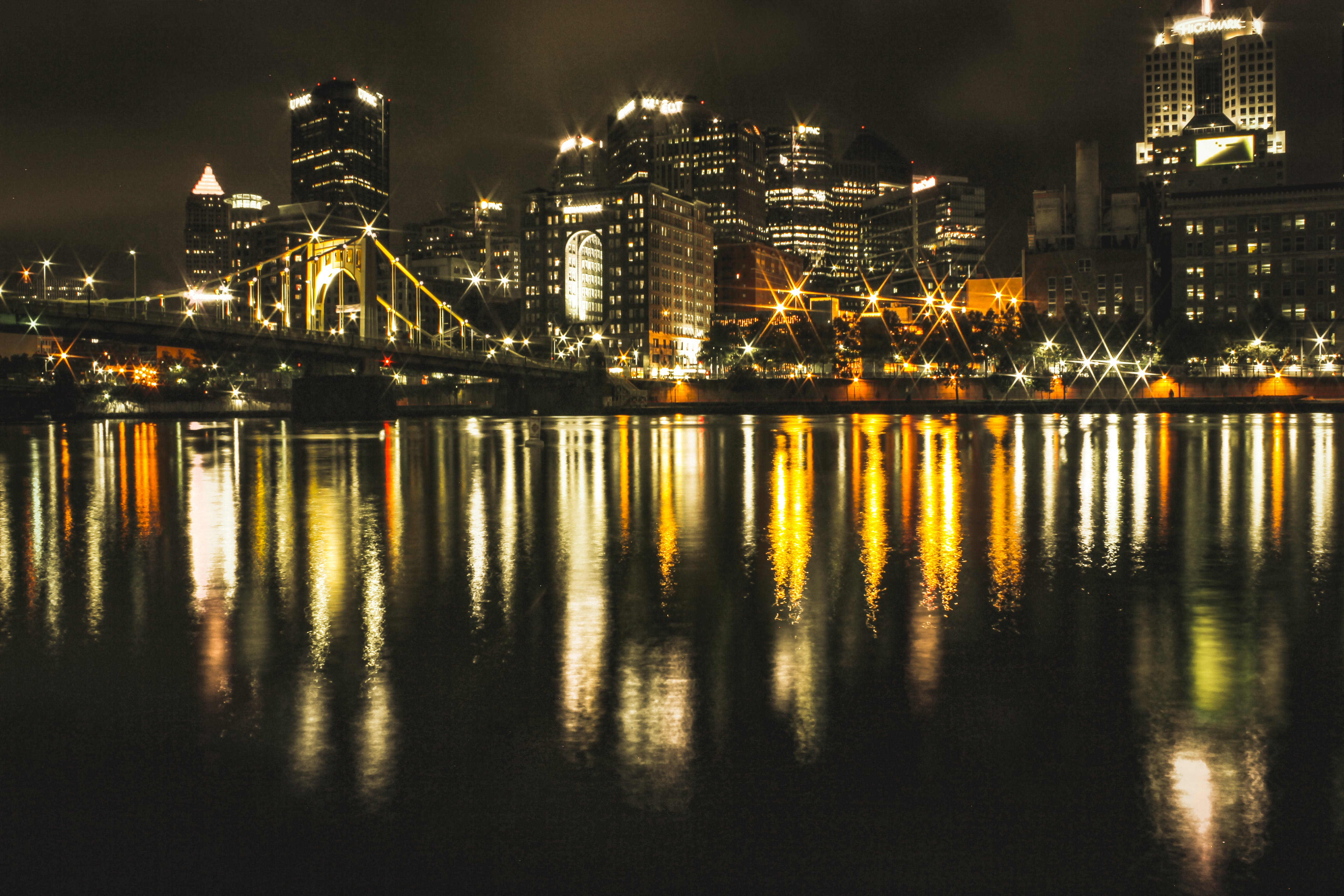 Free stock photo of city, lights, water, skyline
