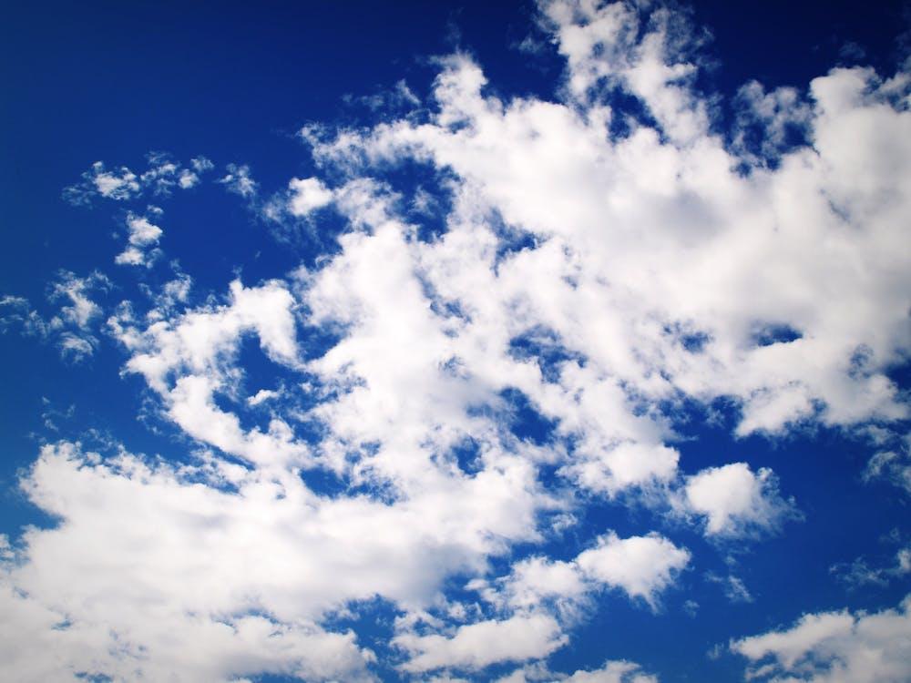 경치가 좋은, 공기, 구름