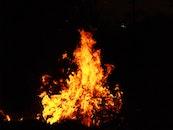 night, dark, fire