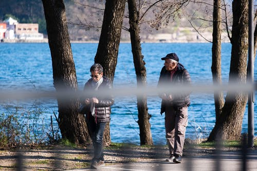 Free stock photo of blue, couple walking, distance, elderly