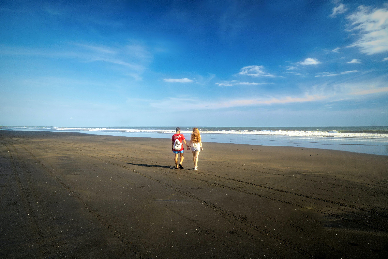 オーシャンビュー, オーシャンライナー, カップル散歩, ビーチの無料の写真素材