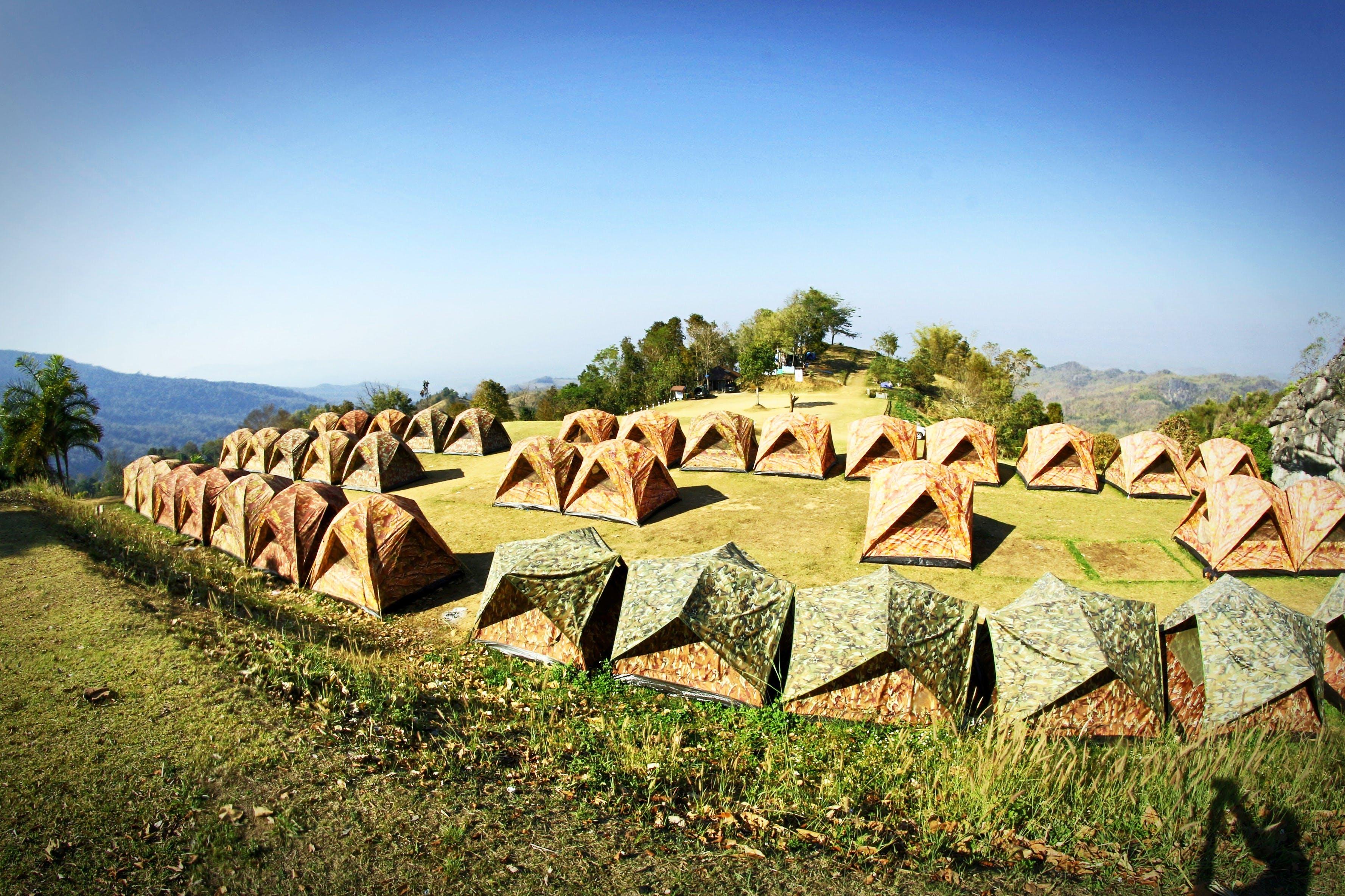 blue sky, camp, camping
