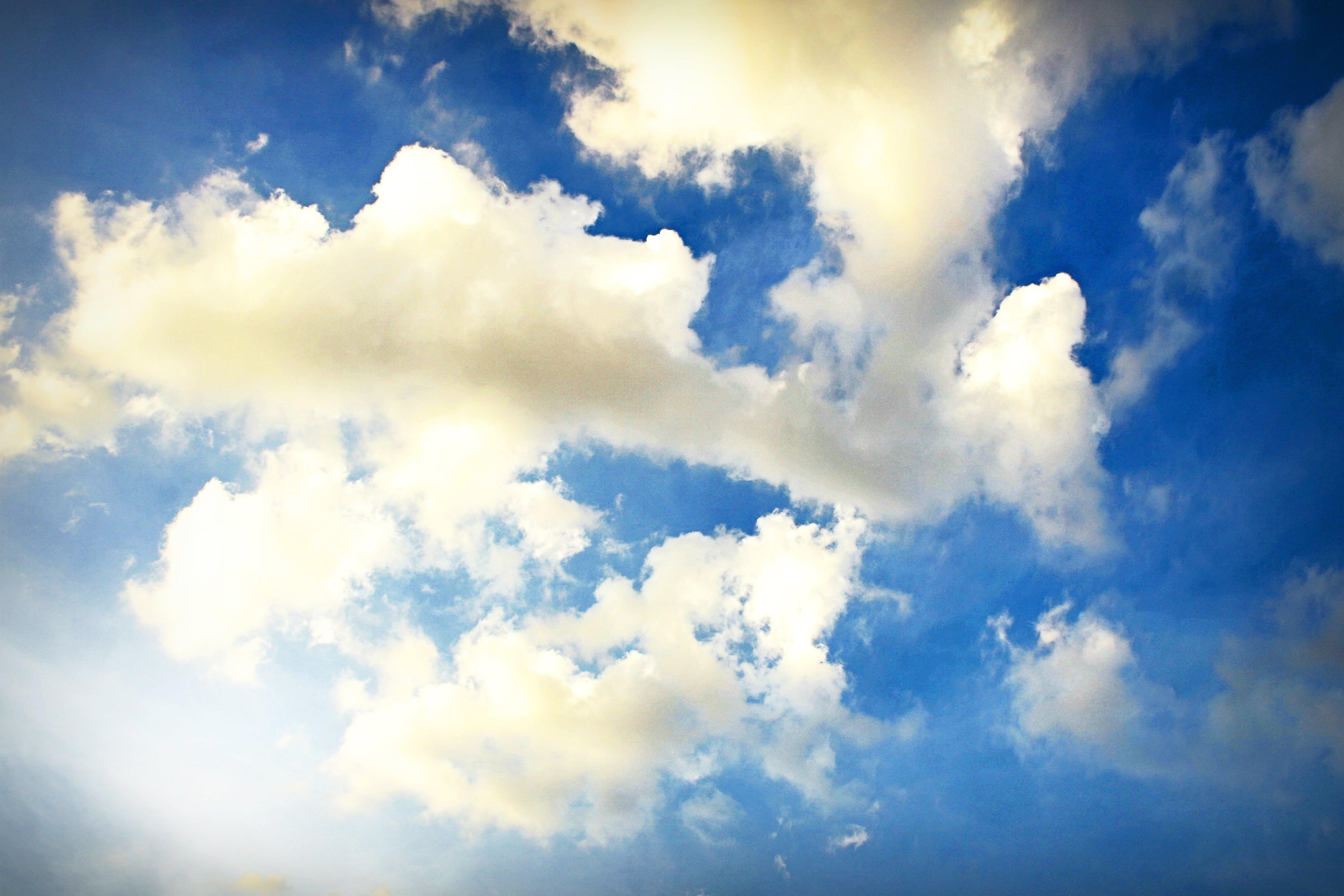 blå himmel, fredelig, himmel