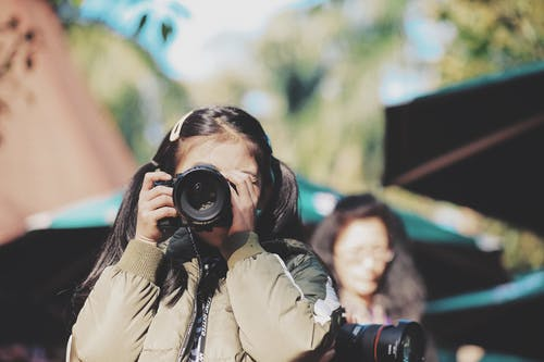 Girl Holding Dslr Camera on Face