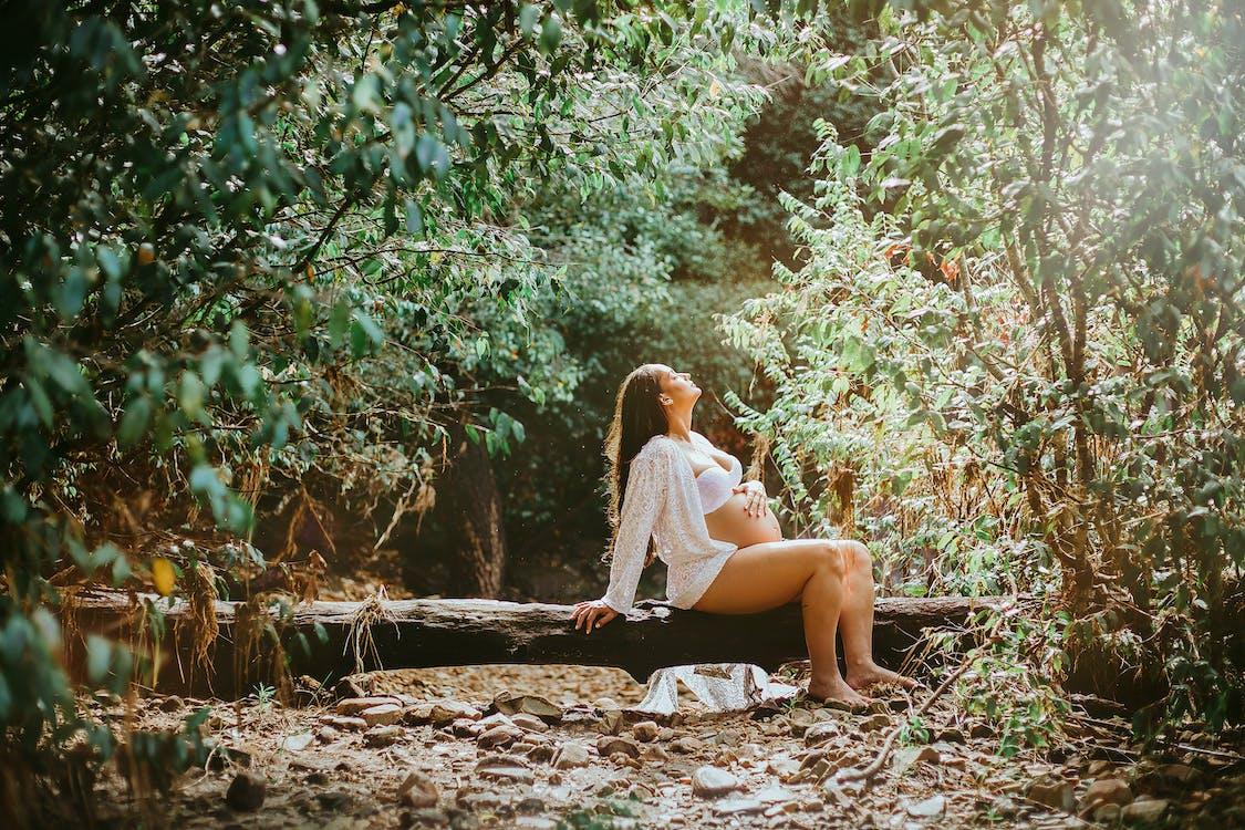 女人坐在日誌上