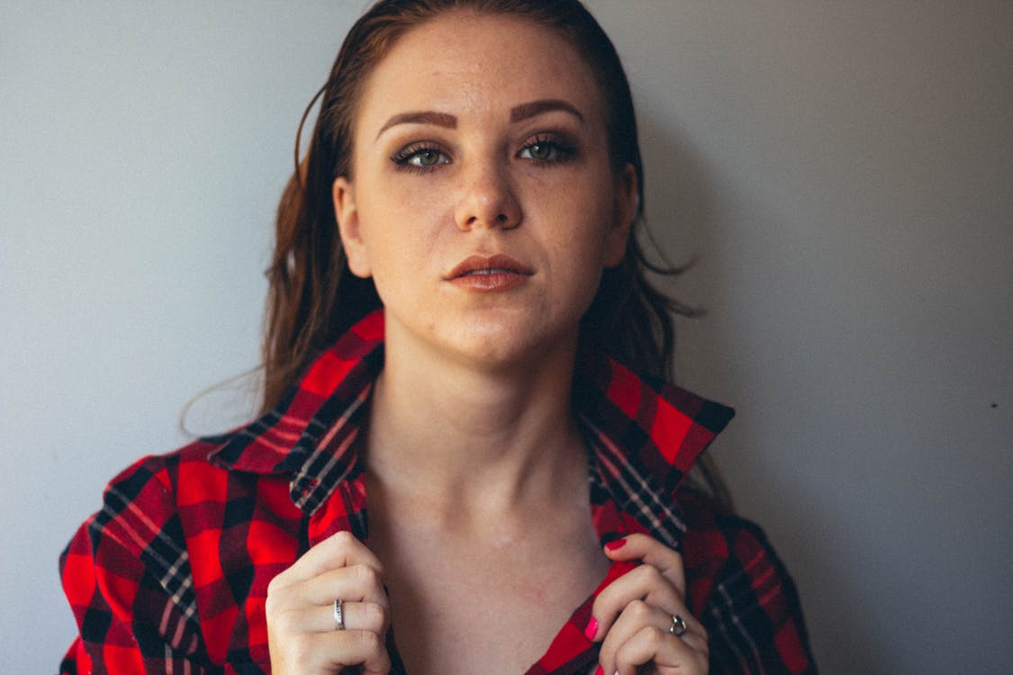 Woman In Red And Black Plaid Button-up Shirt