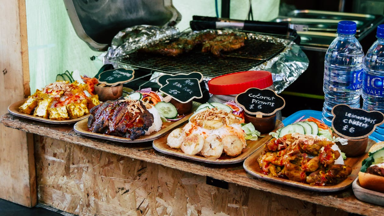 Cooked Foods on Wooden Plate