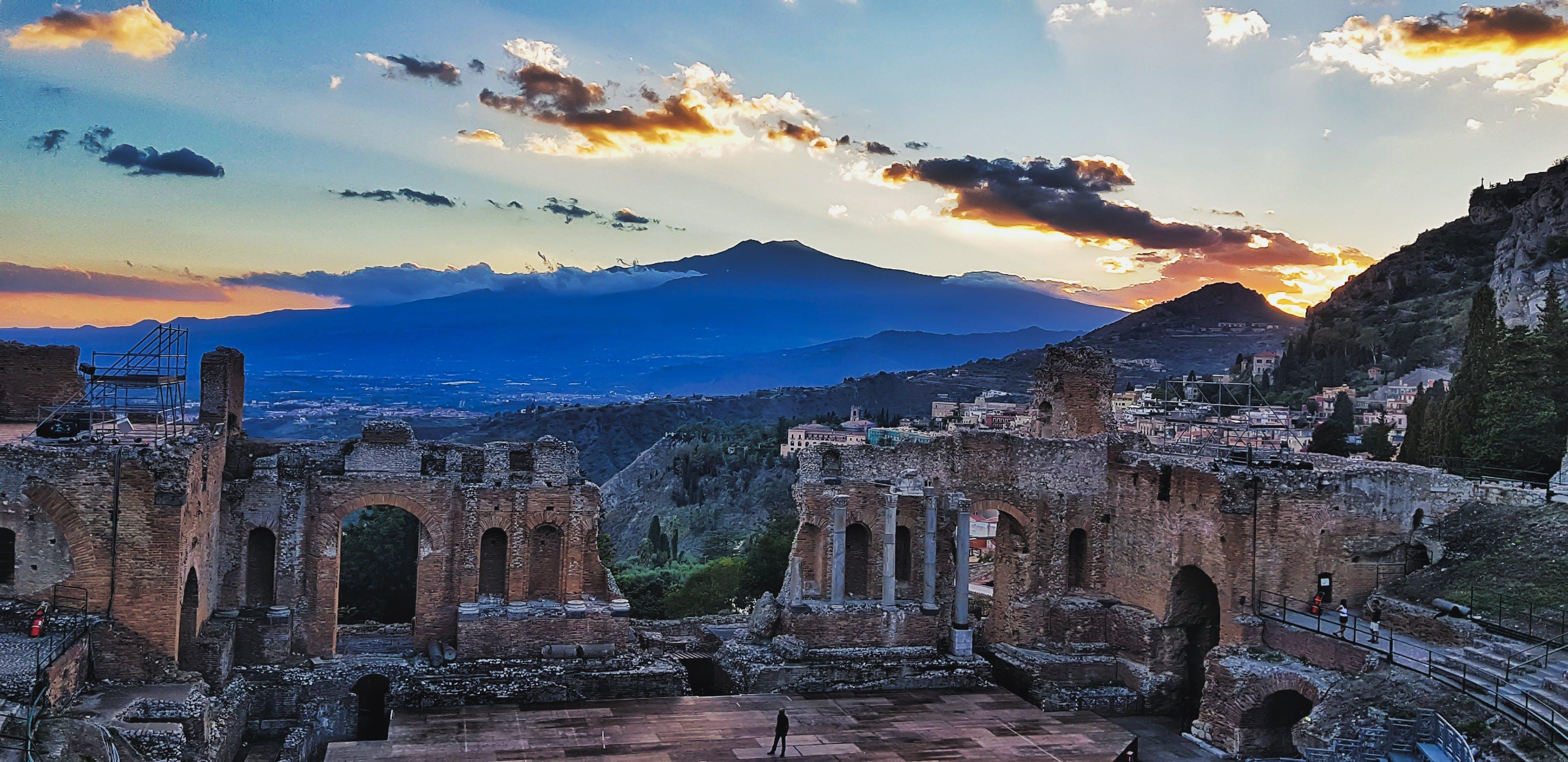 Free stock photo of etna, evening, evening sky, evening sun