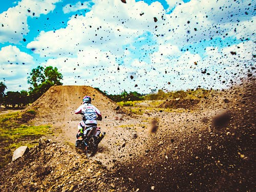 Free stock photo of sports bike, stunt flying