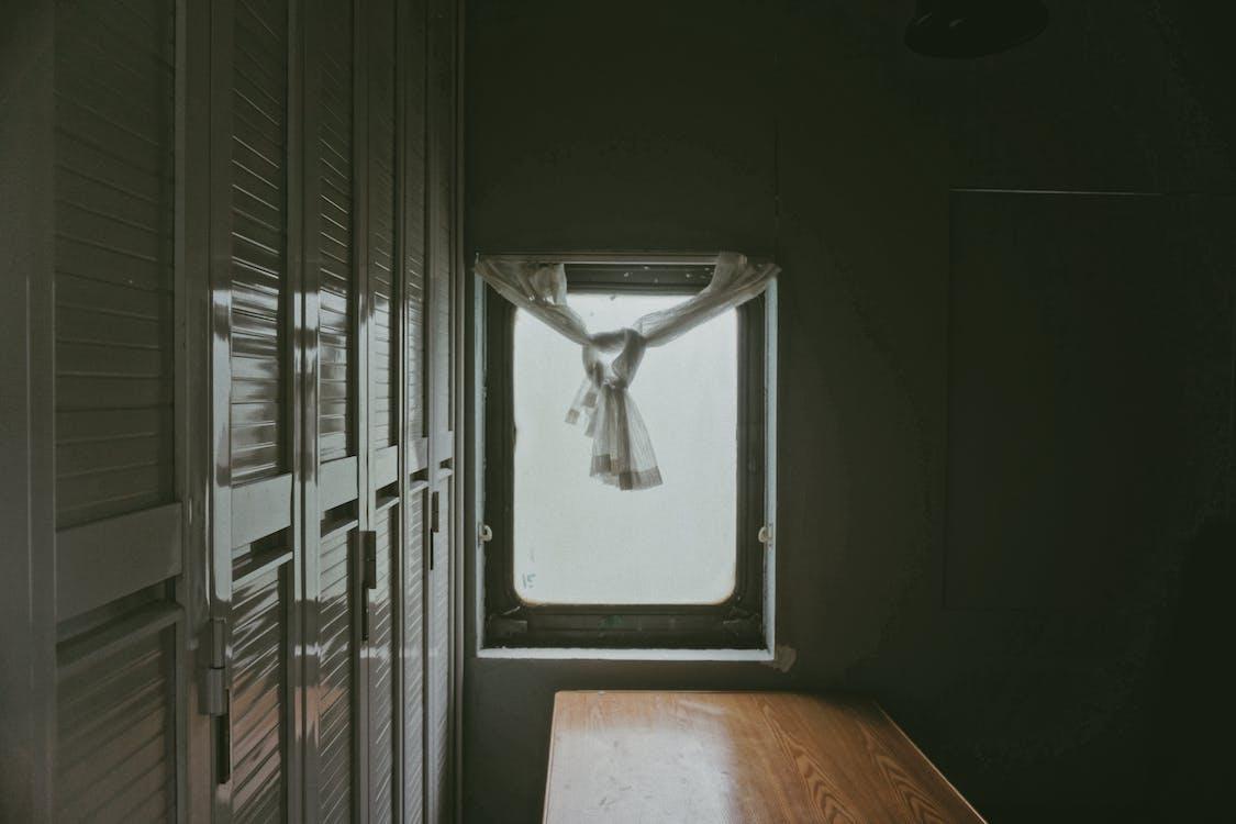 fönster, gardin, inomhus
