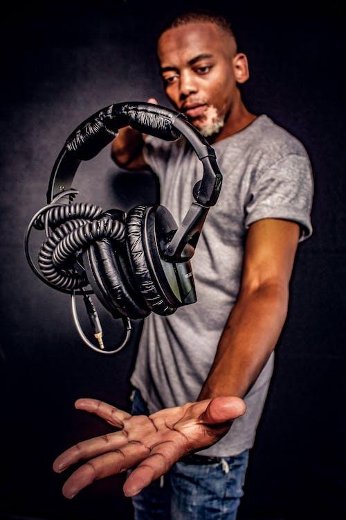 Free stock photo of black person, dj, headphones, magic