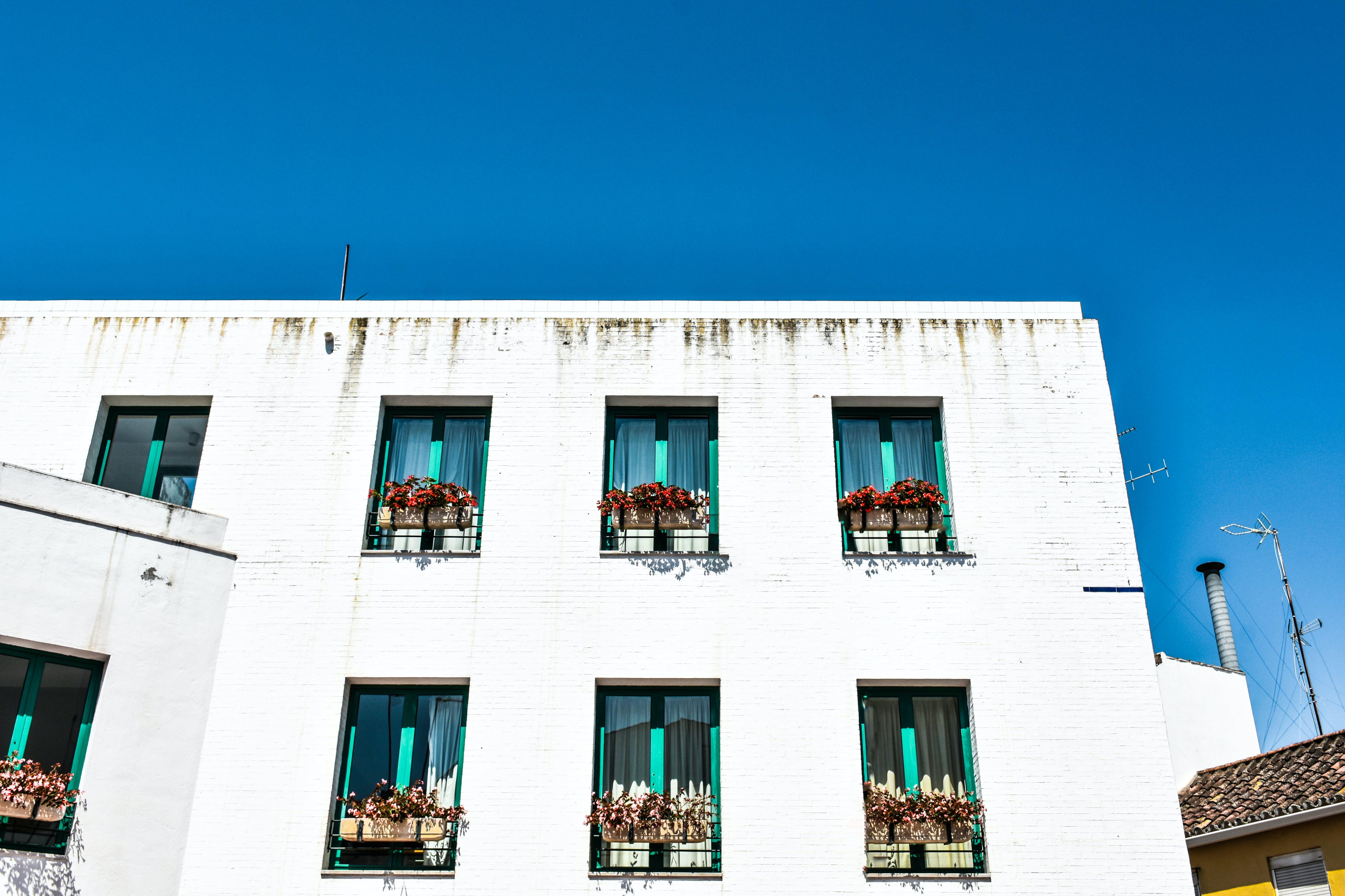 Free stock photo of blue, house, sky, white