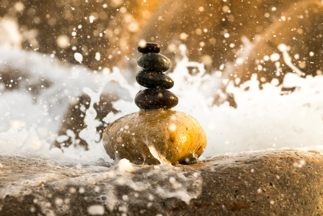kameny, mokrý, rovnováha