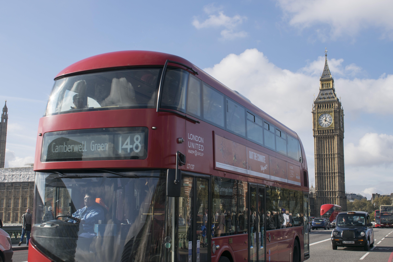 Free stock photo of big ben, big clock, black cab, blue sky