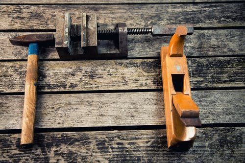 Free stock photo of hammer, Hobel, Holz, Klemme