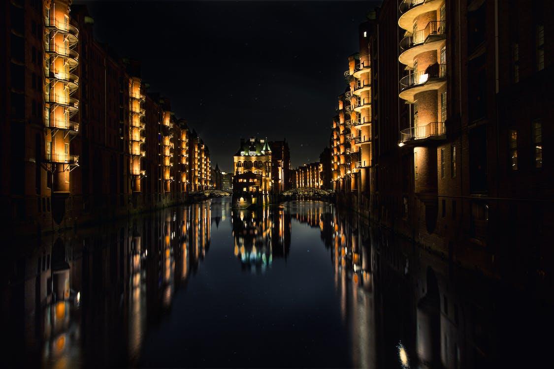 architectuur, belicht, donker