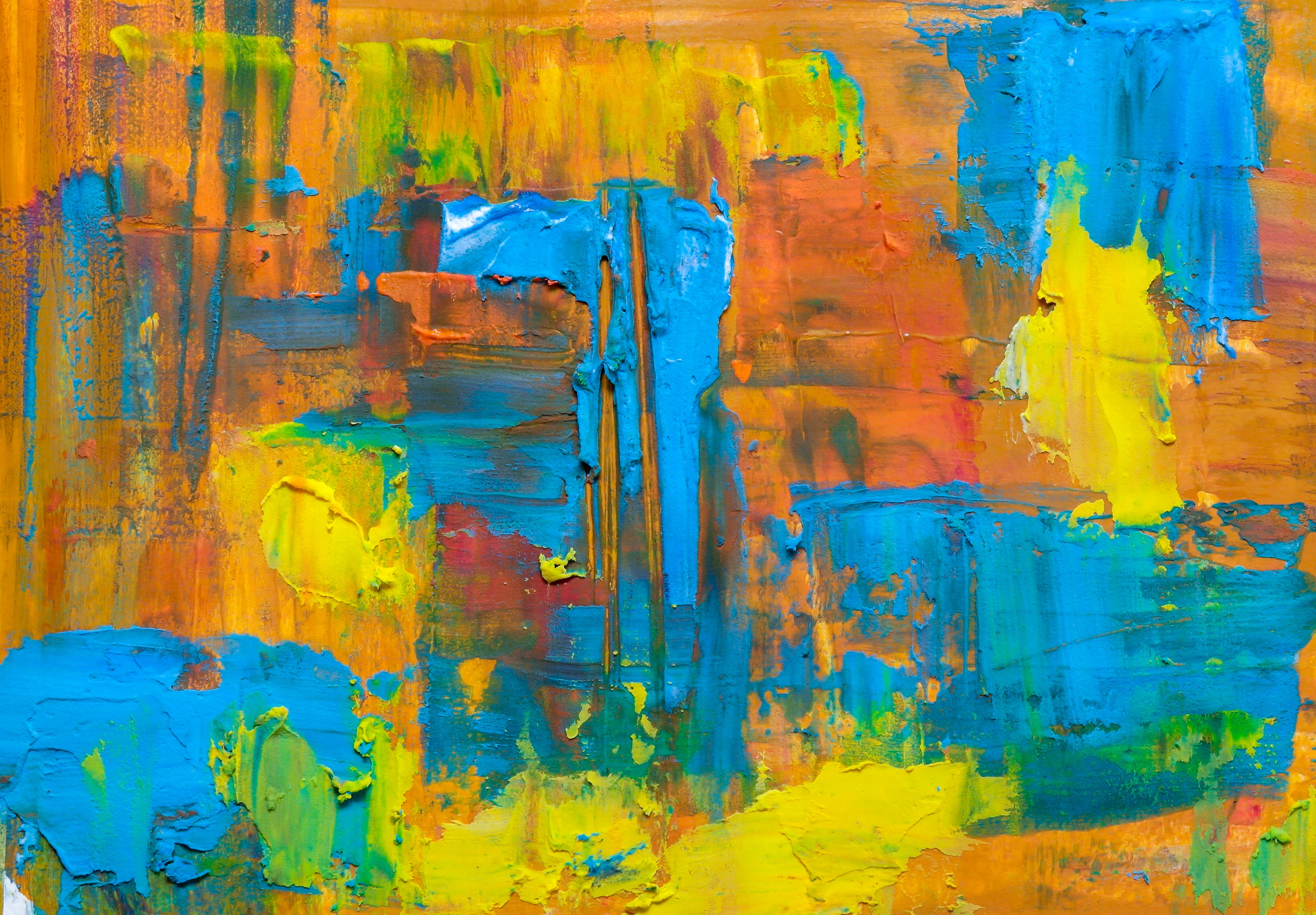 Yellow, Blue And Orange Painting