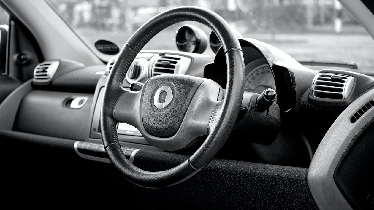 Black Smart Car Steering Wheel