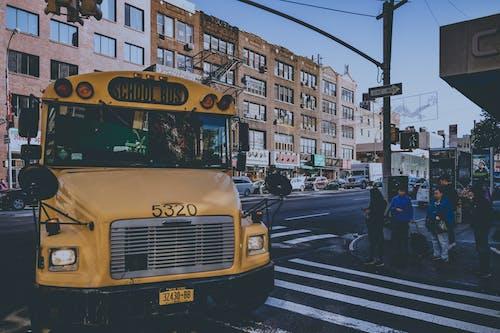 Fotobanka sbezplatnými fotkami na tému autobus, budovy, cesta, chodci