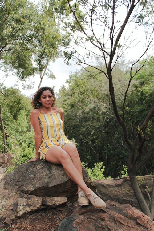 Foto profissional grátis de árvores, cabelo cacheado, cor, fotografia de moda