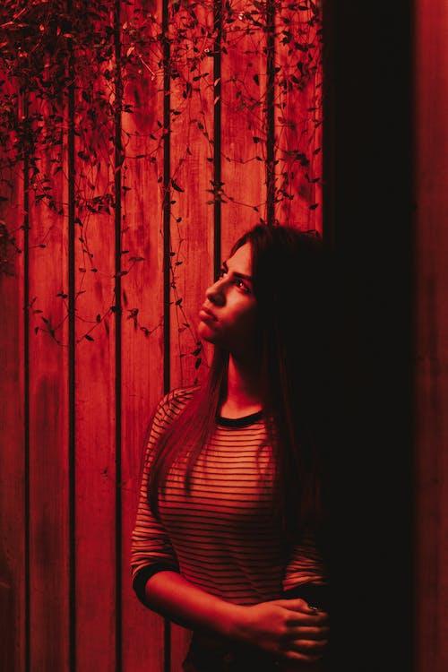 Gratis lagerfoto af pige kigger op, rødt lys