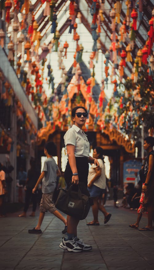 Free stock photo of asian girl, buddhist temple, converse, nike