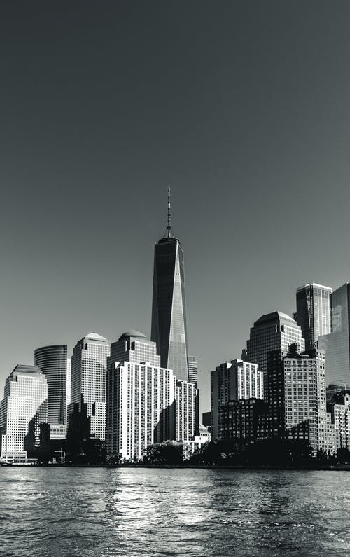 Monochrome Photo of City