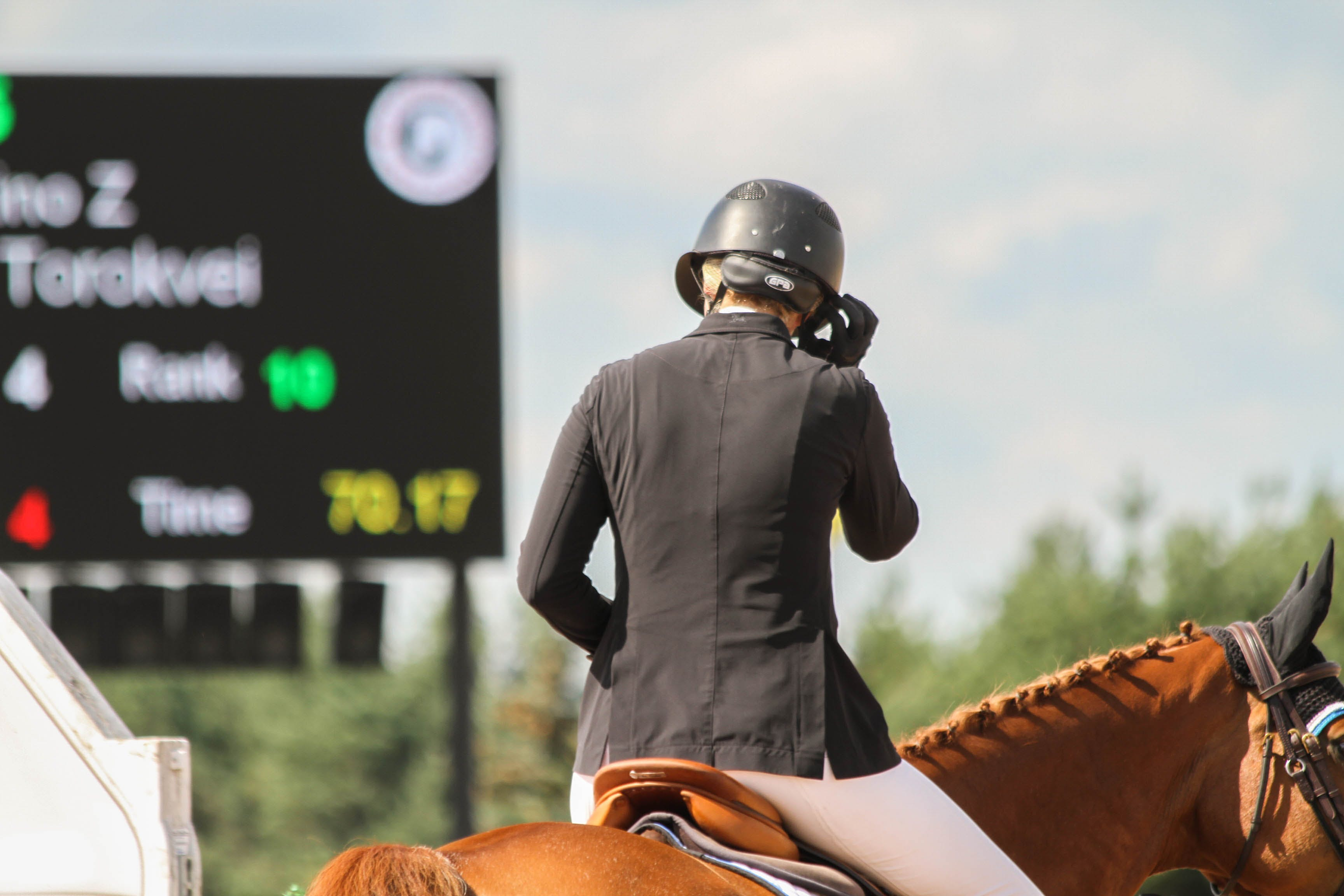 Person in Black Helmet and Black Top Riding Horse