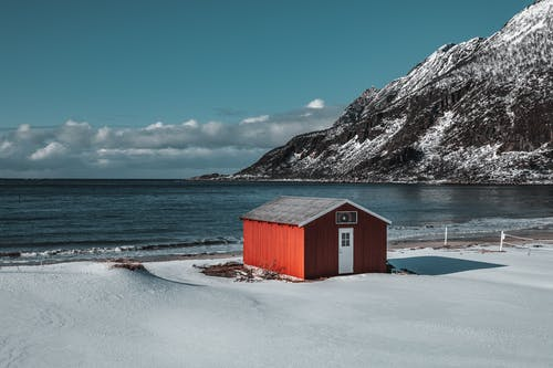 Red and Black Wooden Shed by the Seashore
