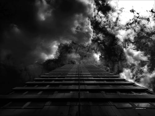 Grayscale Photography of Building Low-angel Photography