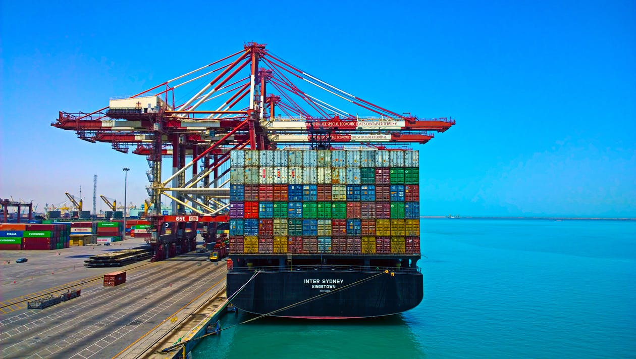 Free stock photo of Aft, container ship, containers