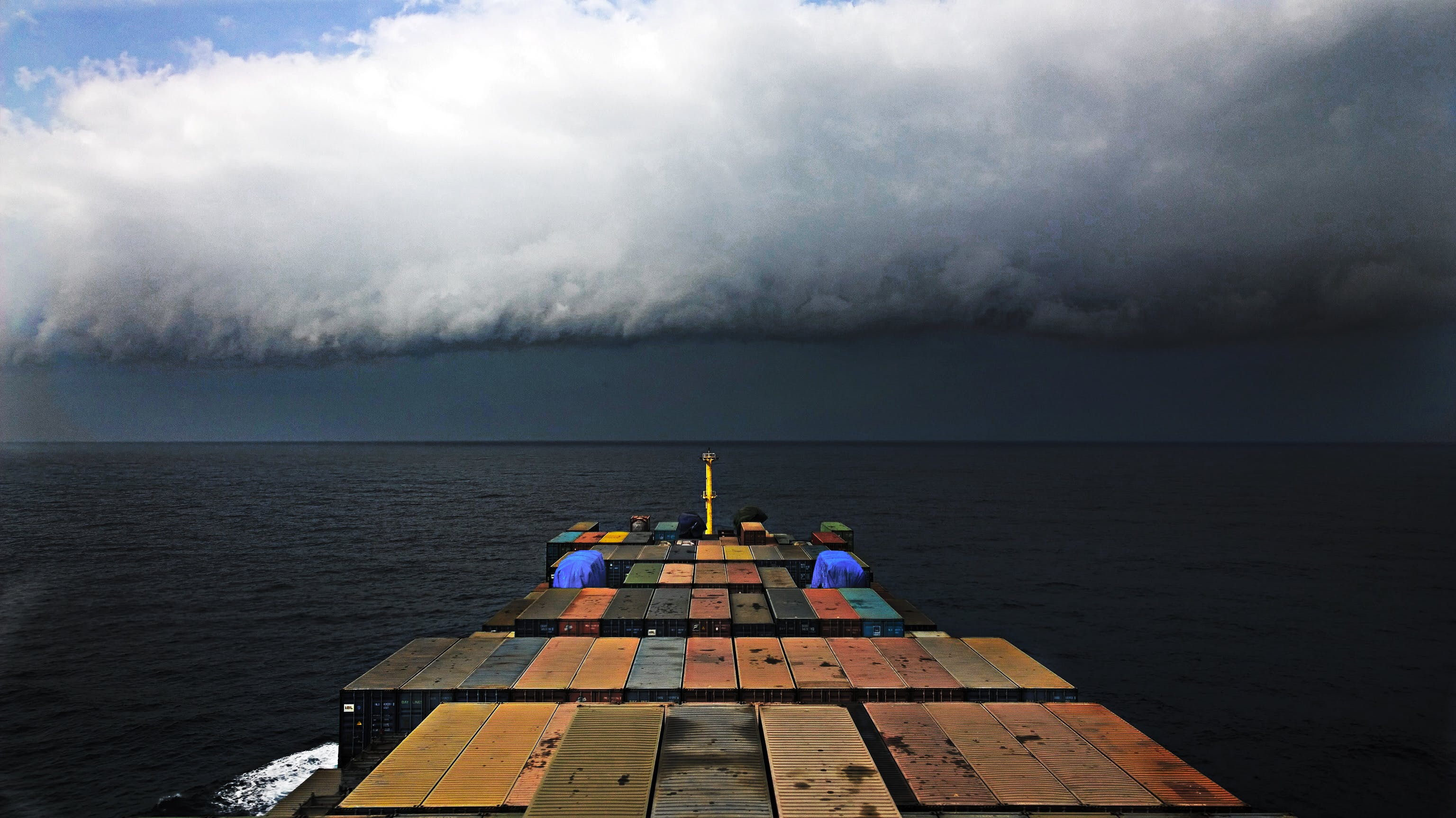 Free stock photo of clouds, container ship, containers, sea
