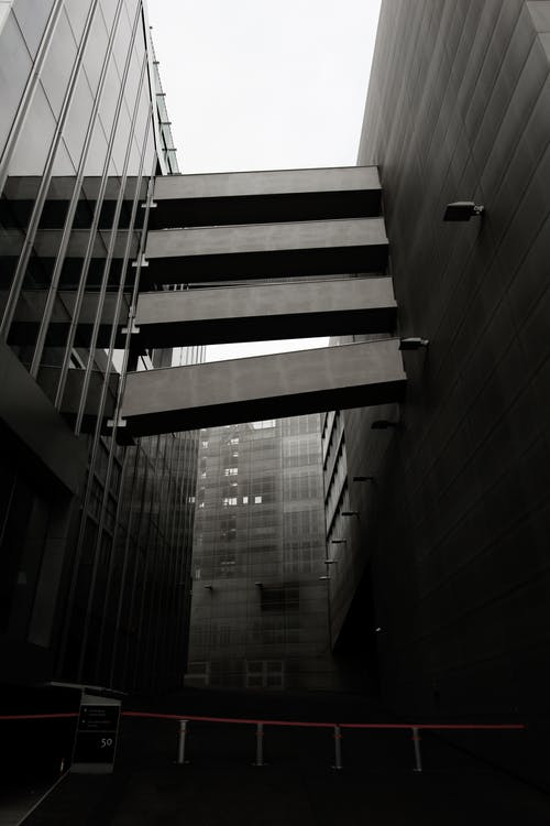 black and white modern buildings