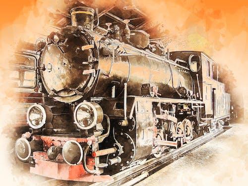 Free stock photo of ancient, digital manipulation, locomotive, metal