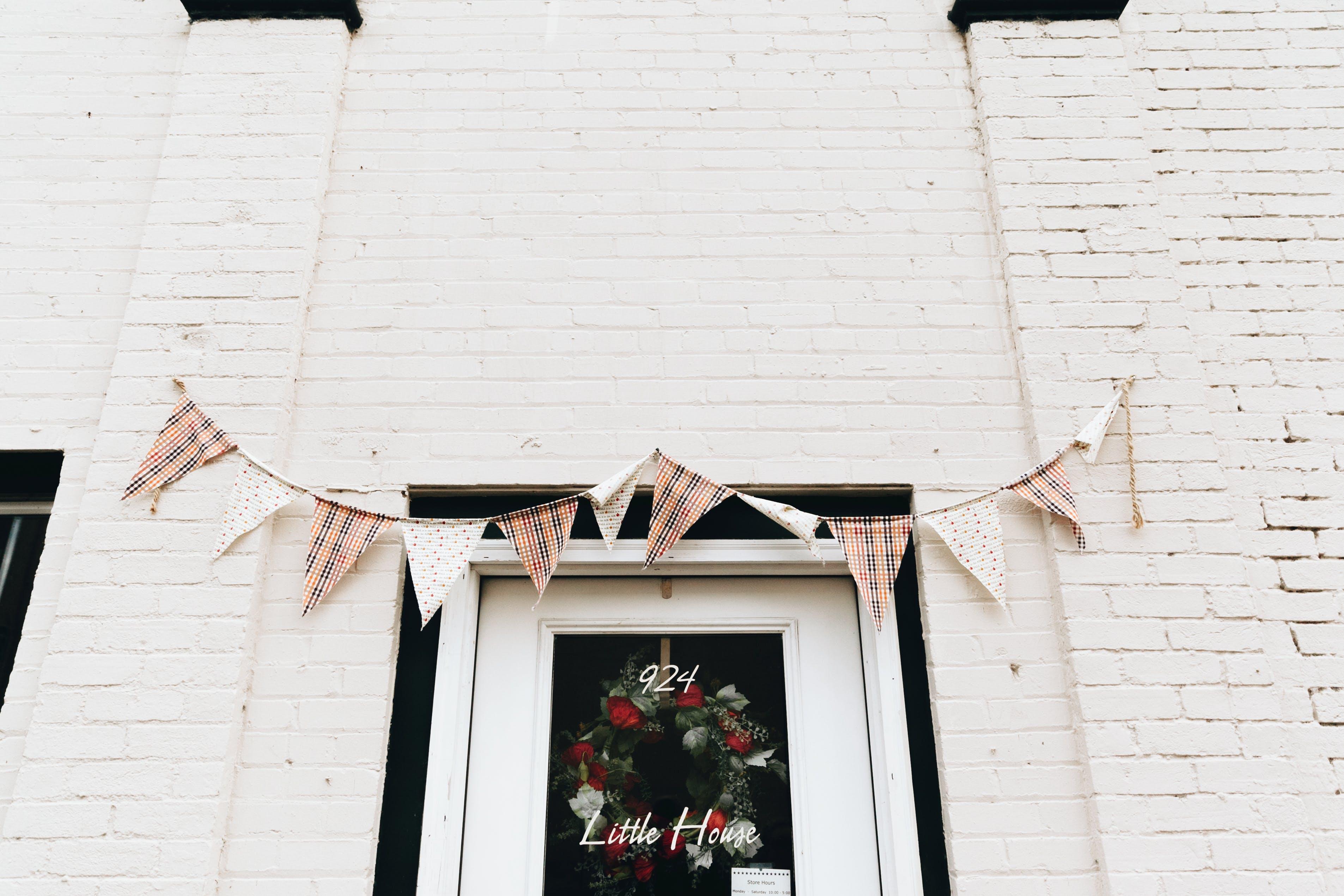 Free stock photo of brick, door, flag, hook