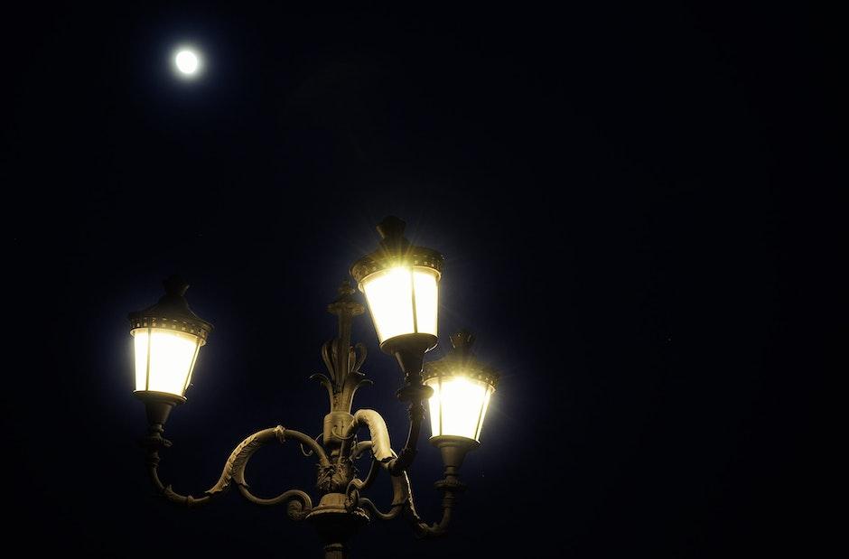 dark, full moon, lamppost