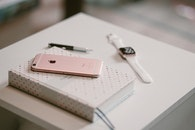 smartphone, desk, notebook