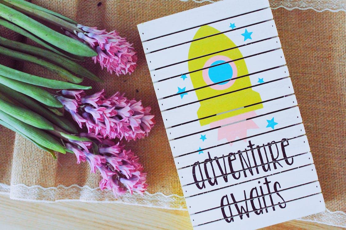 Adventure Awaits Art Work Beside Purple Flowers