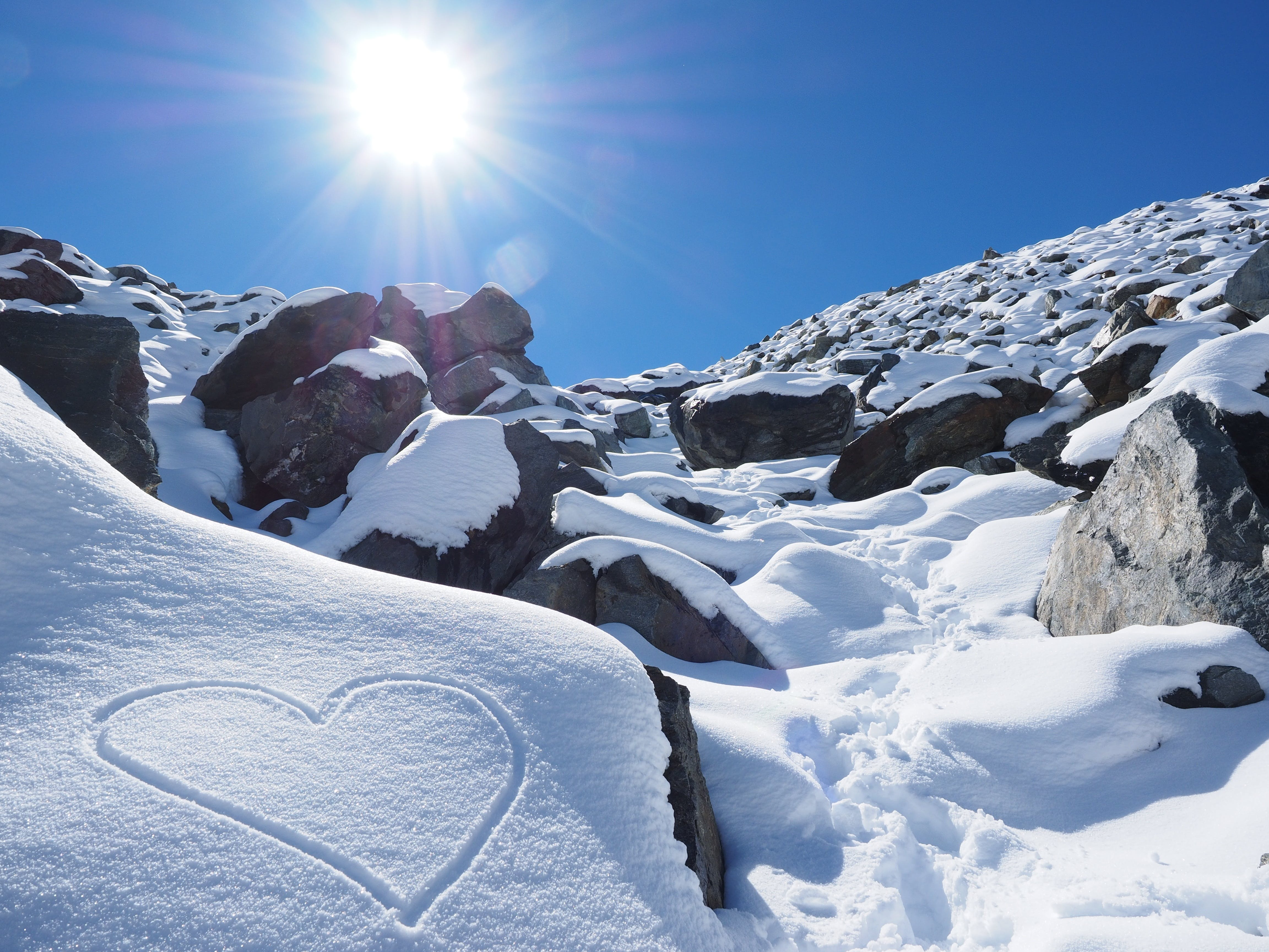 Gray Rocks Covered With Snow