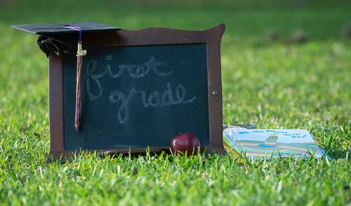 Free stock photo of apple, chalk board, first grade, graduation
