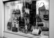 black-and-white, glass, shop