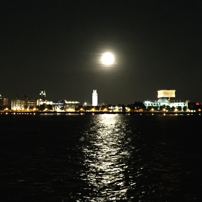 Free stock photo of city, lights, moon, night