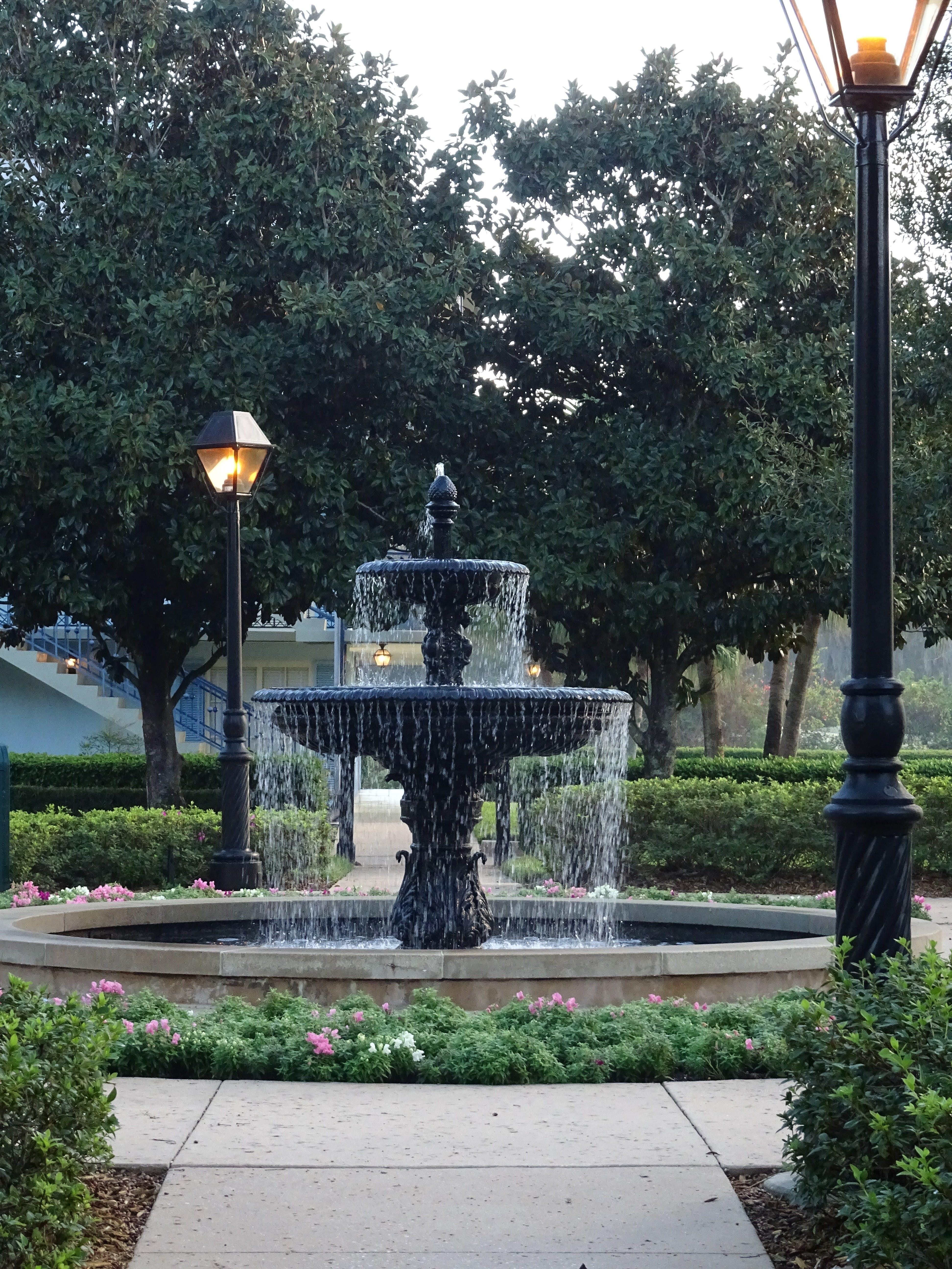 fountain, garden, landscape