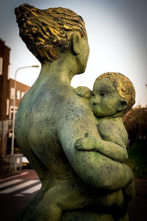 art, estàtua, família