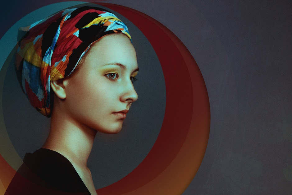 Woman Wearing Red Black and Yellow Turban and Black Dress Painting