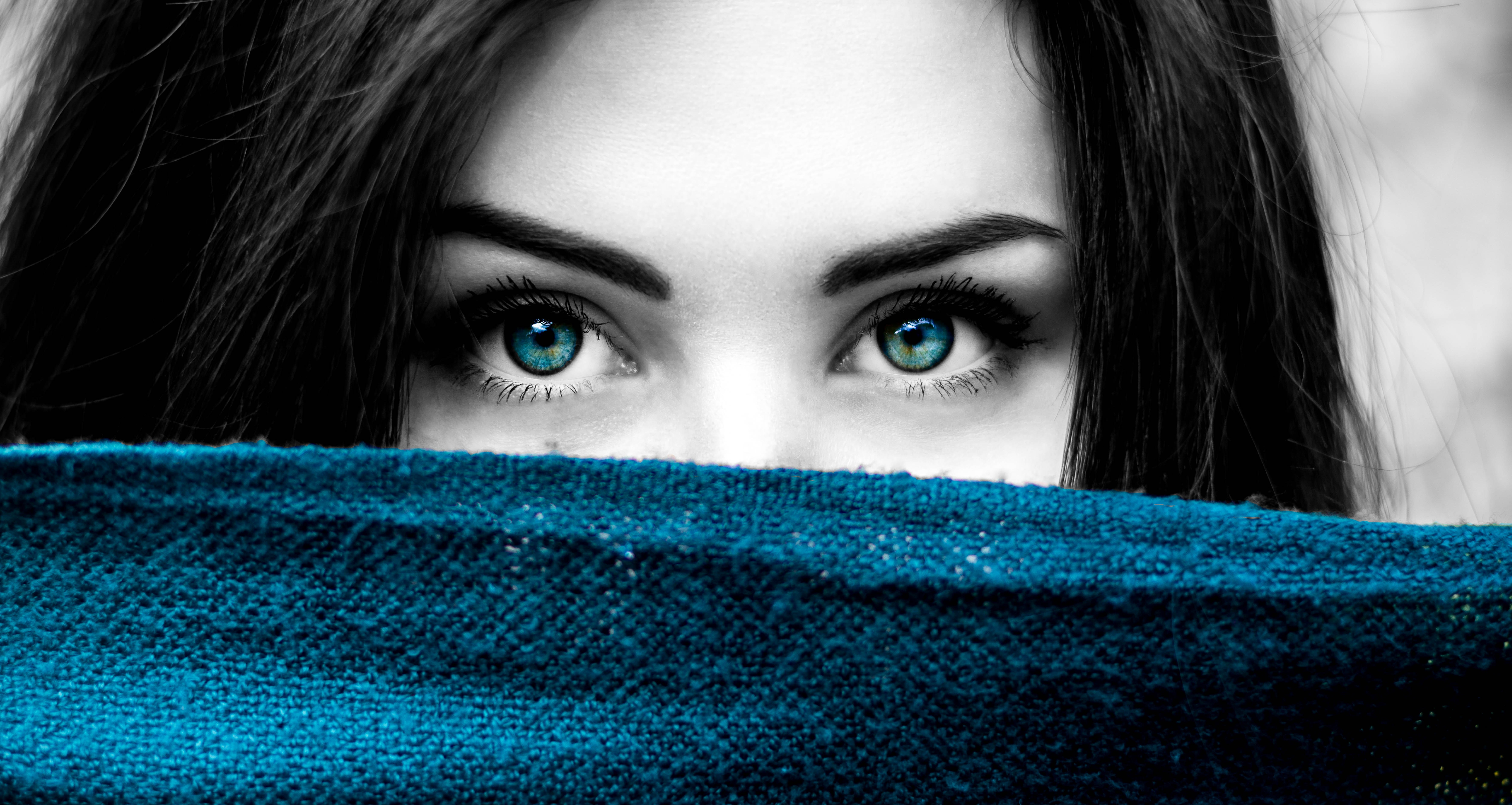 Free stock photo of black and white blue blue eyes