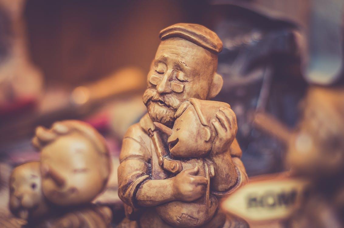 dřevěný, figurky, hnědá