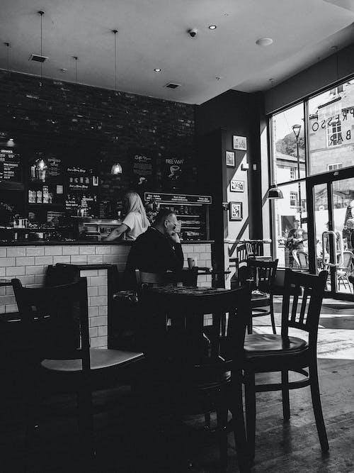 Fotobanka sbezplatnými fotkami na tému bar a kaviareň, čierna a biela, denné svetlo, dizajn